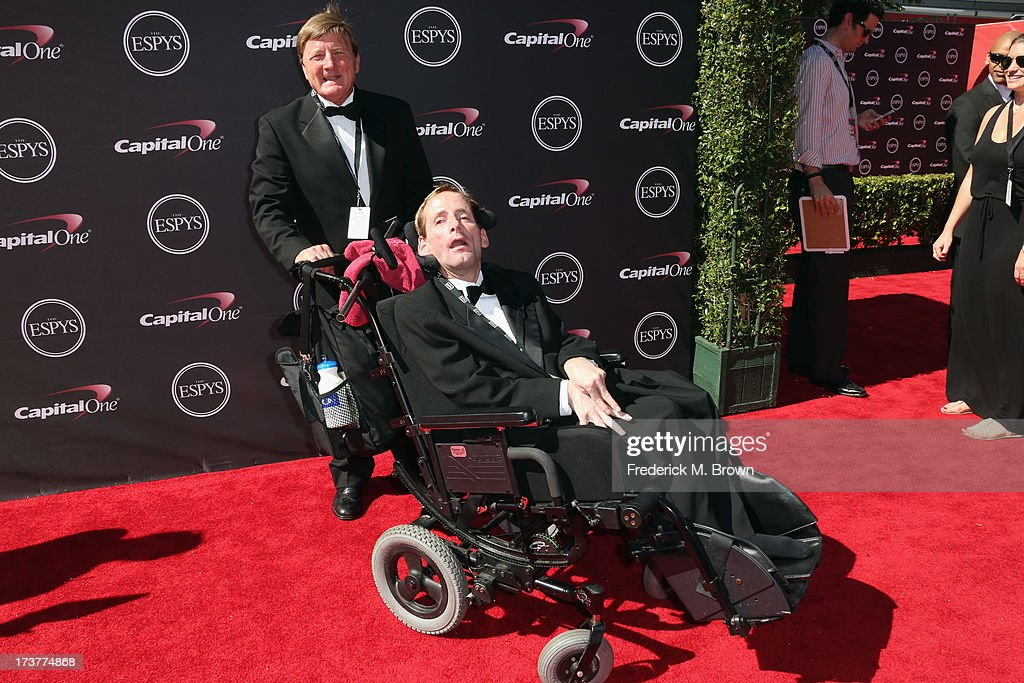 Dick Hoyt (L) and son Rick Hoyt of Team Hoyt attend The 2013 ESPY Awards at Nokia Theatre L.A. Live on July 17, 2013 in Los Angeles, California.