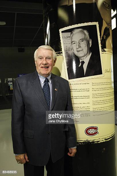 Dick Irvin Jr stands next to the pillar honouring his father the late Dick Irvin Sr during the inveiling of the Head Coaches section in Builders Row...