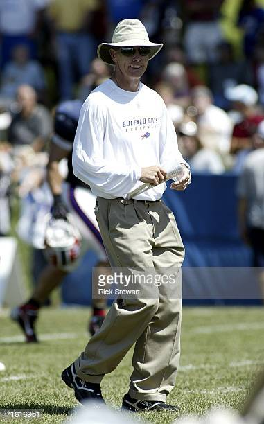 Dick Jauron head coach of the Buffalo Bills watches practice during training camp on August 9 2006 at St John Fisher College in Pittsford New York
