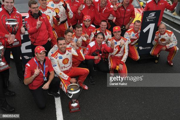 Dick Johnson Scott McLaughlin driver of the Shell VPower Racing Team Ford Falcon FGX and Fabian Coulthard driver of the Shell VPower Racing Team Ford...