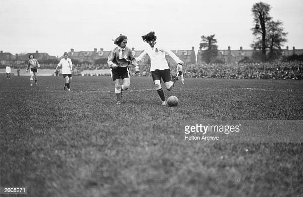 Dick Kerr's ladies' football team from Preston take on the French Ladies International team at Herne Hill London