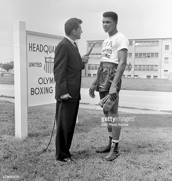 Dick Kirschner CBS Television Network journalist interviewing Muhammad Ali member of the 1960 Summer Olympic US Mens Boxing Team Pictured Dick...
