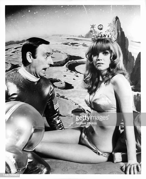Dick Martin reacting to bikini clad Pamela Rodgers in a scene from the film 'The Maltese Bippy' 1969