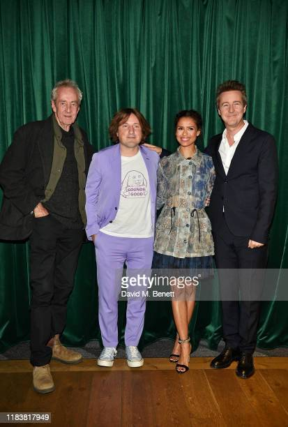 Dick Pope Daniel Pemberton Gugu MbathaRaw and Edward Norton attend the Motherless Brooklyn BAFTA screening reception at Vue Leicester Square on...
