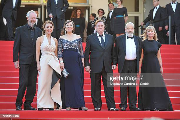 Dick Pope Dorothy Atkinson Marion Bailey Timothy Spall Mike Leigh and Georgina Lowe attend the 'Mr Turner' premiere during the 67th Cannes Film...