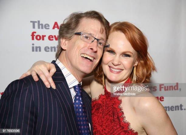 Dick Scanlan and Kate Baldwin attend the after party for the Actors Fund's 15th Anniversary Reunion Concert of 'Thoroughly Modern Millie' on February...