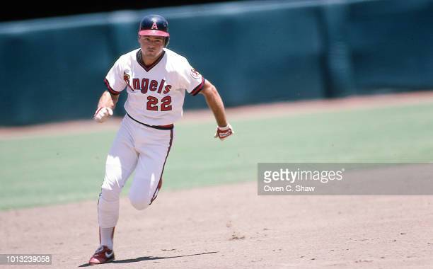 Dick Schofield of the California Angels runs the bases at the Big A circa 1986 in Anaheim California