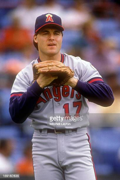 Dick Schofield of the California Angles plays catch before a baseball game against the Baltimore Orioles on September 9 1990 at Memorial Stadium in...