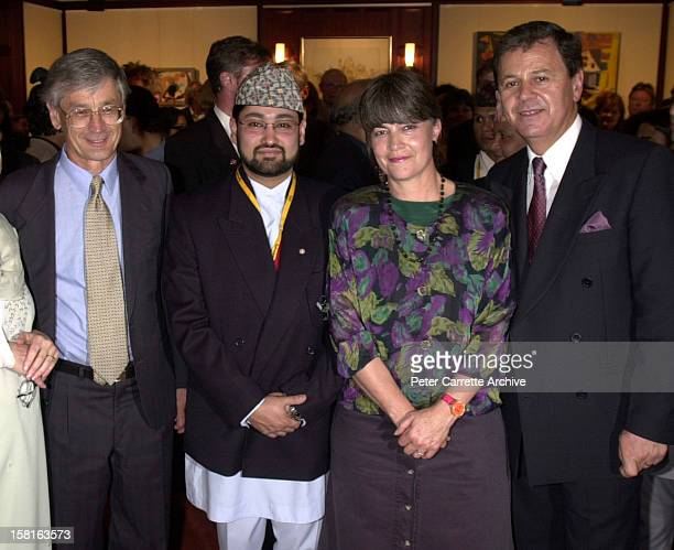 Dick Smith Crown Prince Dipendra of Nepal Gabi Hollows and Ray Martin attend a Fred Hollows Foundation function on September 29 2000 in Sydney...