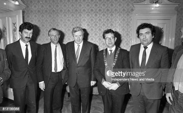 Dick Spring Garret Fitzgerald Lord Mayor of Dublin Michael O'Halloran and John Hume at the Launch of the book 'John Hume Statesman of the Troubles'...