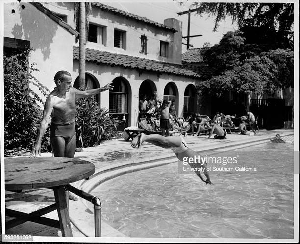 Dick Stagg instructing Terry Miller 7 at the Garden of Allah Hotel's pool