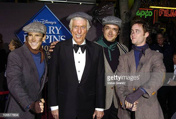 Dick Van Dyke with chimney sweeps during 'Mary Poppins' 40th Anniversary and Launch of Special Edition DVD Arrivals at El Capitan Theatre in...