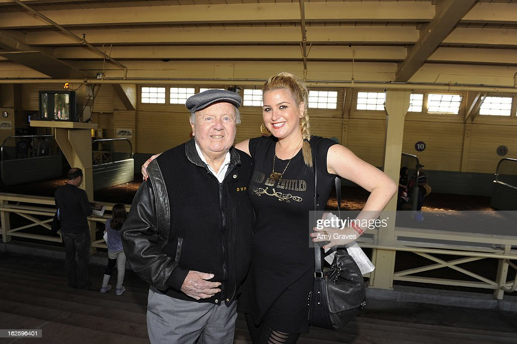 Dick Van Patten and Josie Goldberg attend Reality TV Personality Josie Goldberg and her race horse SpoiledandEntitled's race at Santa Anita Park on February 24, 2013 in Arcadia, California.