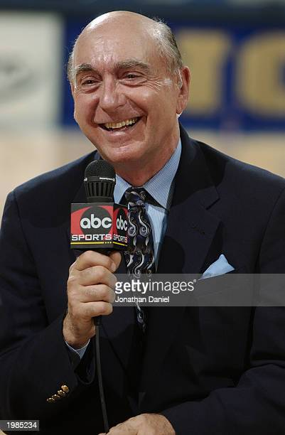 Dick Vitale of ABC announces the game between Notre Dame and Pittsburgh at Joyce Center at the University of Notre Dame on February 9, 2003 in South...