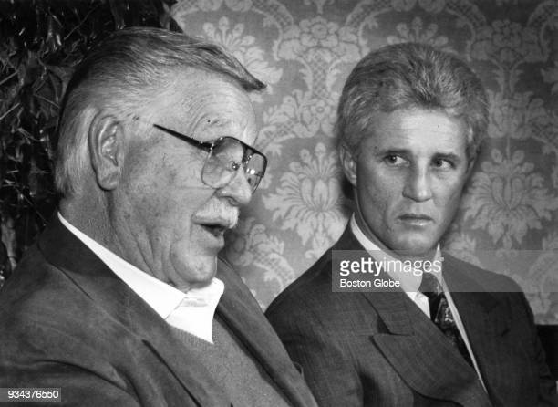 Dick Williams left speaks as Boston Red Sox manager Butch Hobson right looks on during a press conference before the Boston Baseball Writers Dinner...
