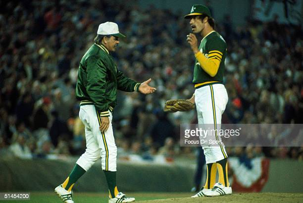 FLUSHING NY OCTOBER 1973 Dick Williams manager of the Oakland Athletics walks onto the mound to relieve Ken Holtzman during the World Series against...