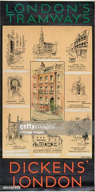 'Dickens' London' London County Council Tramways poster 1930 Showing drawings of places connected with the life and work of Charles Dickens No 10...