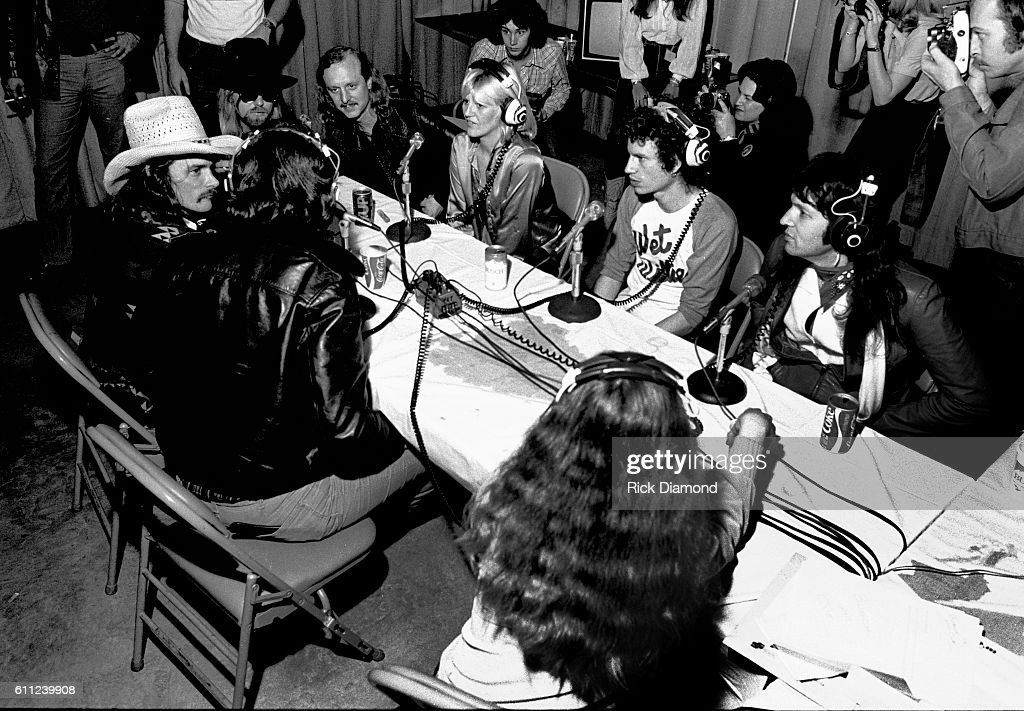 Dickey Betts, Gregg Allman, Butch Trucks (ABB), Bonnie Bramlett, Jimmy Hall and Mylon LeFevre attend CDB Jam VIII on January 17, 1981