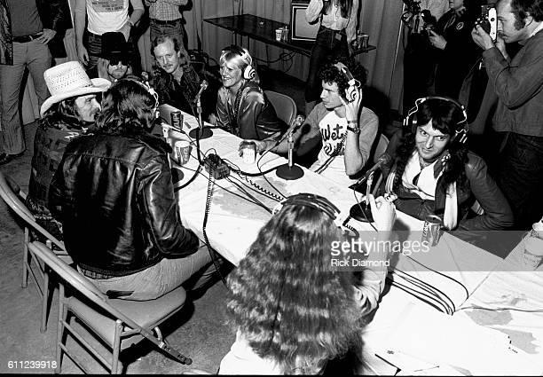 L/R Dickey Betts Gregg Allman Butch Trucks Bonnie Bramlett Jimmy Hall and Mylon LeFevre attend CDB Jam VIII on January 17 1981