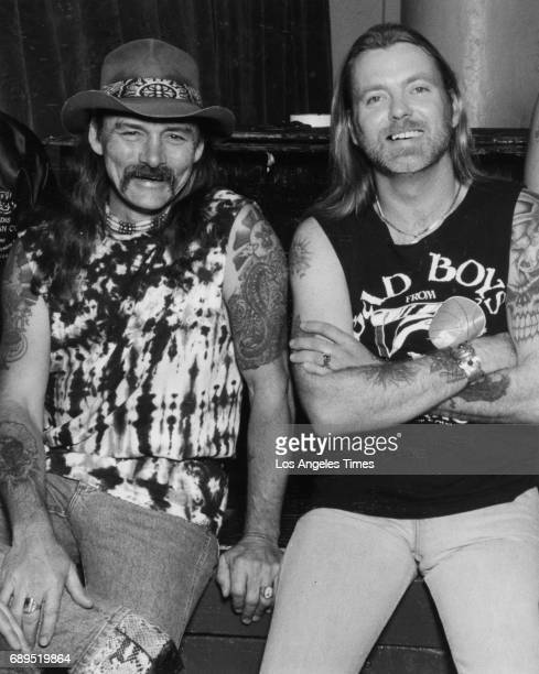 Dickey Betts left and Gregg Allman of The Allman Brothers Band at Central Park concert hall in Milwaukee Wisconsin July 28 1989 Gregg Allman the lead...