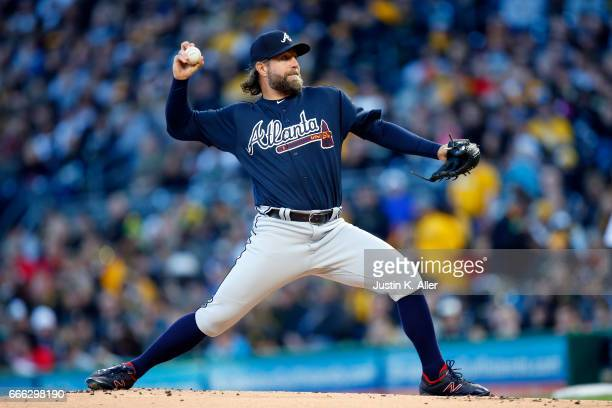 A Dickey of the Atlanta Braves pitches in the first inning against the Pittsburgh Pirates at PNC Park on April 8 2017 in Pittsburgh Pennsylvania