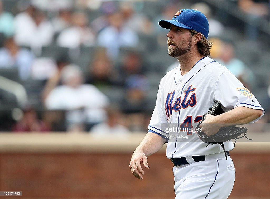 R.A. Dickey #43 of the New York Mets looks on against the Pittsburgh Pirates at Citi Field on September 27, 2012 in the Flushing neighborhood of the Queens borough of New York City.