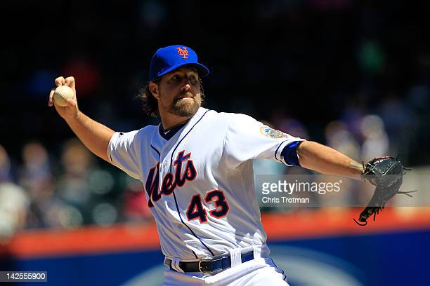 A Dickey of the New York Mets pitches against the Atlanta Braves at Citi Field on April 7 2012 in the Flushing neighborhood of the Queens borough of...