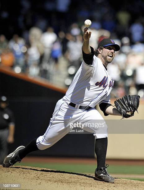 A Dickey of the New York Mets pitches against the Houston Astros on August 29 2010 at Citi Field in the Flushing neighborhood of the Queens borough...