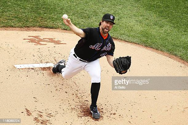 A Dickey of the New York Mets pitches against the New York Yankees during their game on July 3 2011 at Citi Field in the Flushing neighborhood of the...
