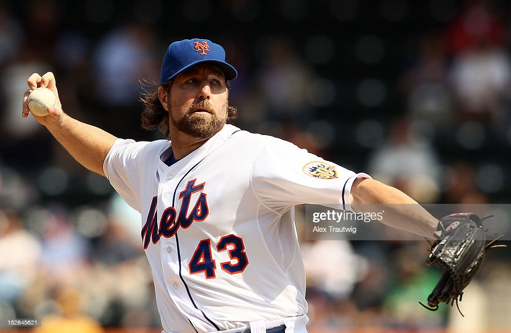 R.A. Dickey #43 of the New York Mets pitches against the Pittsburgh Pirates at Citi Field on September 27, 2012 in the Flushing neighborhood of the Queens borough of New York City.