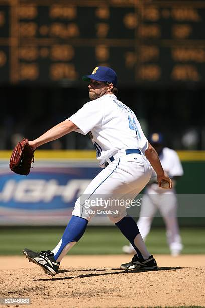 Dickey of the Seattle Mariners pitches against the Cleveland Indians on July 19, 2008 at Safeco Field in Seattle, Washington.