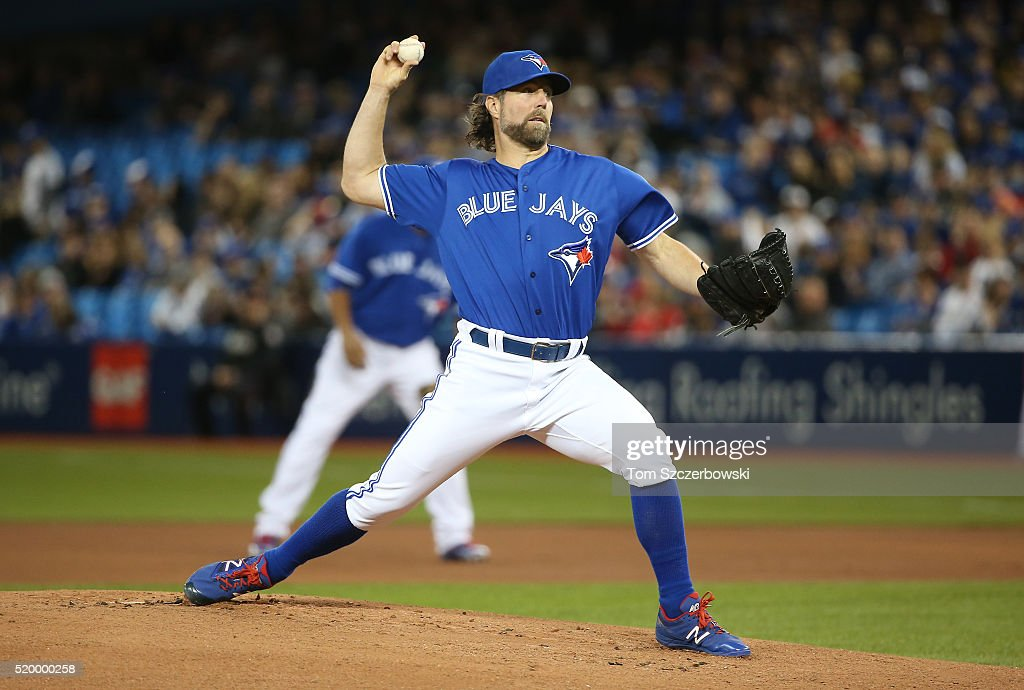 R.A. Dickey #43 of the Toronto Blue Jays delivers a pitch in the first inning during MLB game action against the Boston Red Sox on April 9, 2016 at Rogers Centre in Toronto, Ontario, Canada.
