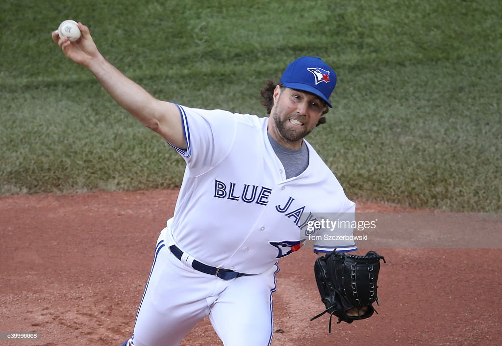 R.A. Dickey #43 of the Toronto Blue Jays delivers a pitch in the first inning during MLB game action against the Philadelphia Phillies on June 13, 2016 at Rogers Centre in Toronto, Ontario, Canada.