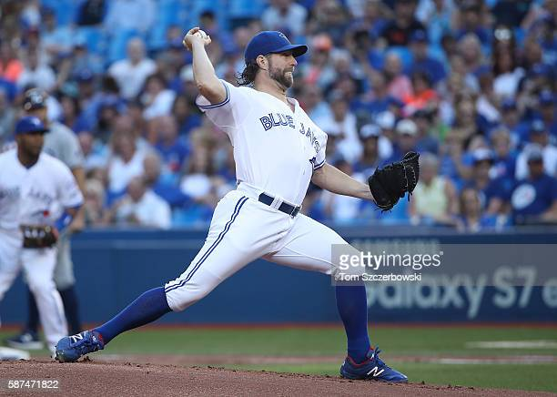 A Dickey of the Toronto Blue Jays delivers a pitch in the first inning during MLB game action against the Tampa Bay Rays on August 8 2016 at Rogers...