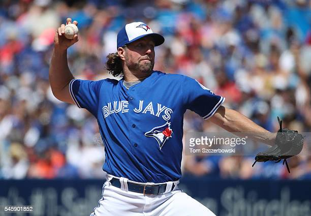 A Dickey of the Toronto Blue Jays delivers a pitch in the sixth inning during MLB game action against the Detroit Tigers on July 10 2016 at Rogers...