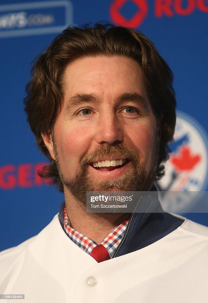 R.A. Dickey #43 of the Toronto Blue Jays is introduced at a press conference at Rogers Centre on January 8, 2013 in Toronto, Ontario, Canada.