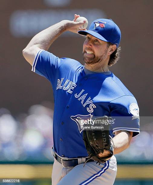 A Dickey of the Toronto Blue Jays pitches against the Detroit Tigers at Comerica Park on June 8 2016 in Detroit Michigan