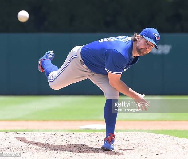 A Dickey of the Toronto Blue Jays pitches during the game against the Detroit Tigers at Comerica Park on June 8 2016 in Detroit Michigan The Blue...