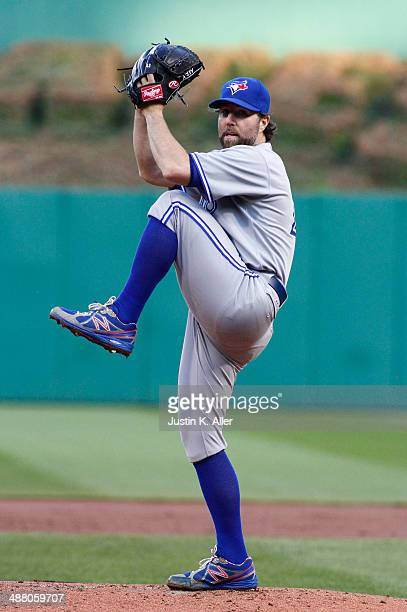 A Dickey of the Toronto Blue Jays pitches in the first inning against the Pittsburgh Pirates during the game at PNC Park May 3 2014 in Pittsburgh...