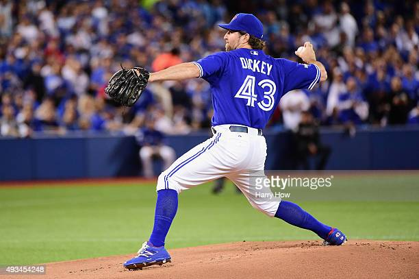 A Dickey of the Toronto Blue Jays throws a pitch in the first inning against the Kansas City Royals during game four of the American League...