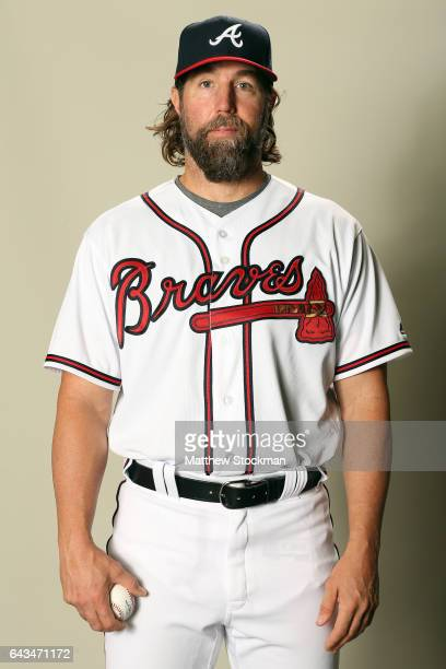 A Dickey poses for a portrait during Atlanta Braves Photo Day at Champion Stadium on February 21 2017 in Lake Buena Vista Florida
