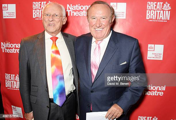 Dickie Arbiter and Andrew Neil attend the press night performance of 'Great Britain' following its transfer to the Theatre Royal Haymarket at Mint...