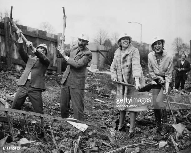 Dickie Henderson Christopher Lee Vera Lynn and Sue Lloyd at work on the Michael Sobell youth sports centre in Islington north London 8th March 1971...