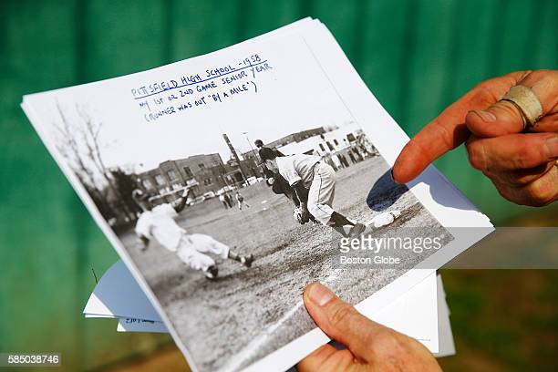 Dickie Scullary points to a photograph that was taken of him in 1958 when he was the third baseman at Pittsfield High School in his senior year there...
