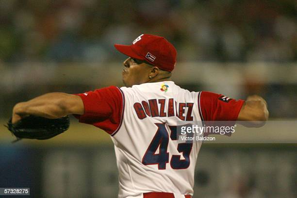 Dicky Gonzalez of Puerto Rico pitches against Cuba on March 15 2006 at Hiram Bithorn Stadium in San Juan Puerto Rico Cuba defeated Puerto Rico 43