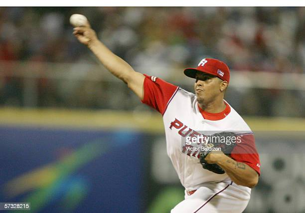 Dicky Gonzalez of Puerto Rico pitches during the game against Cuba on March 15 2006 at Hiram Bithorn Stadium in San Juan Puerto Rico Cuba defeated...