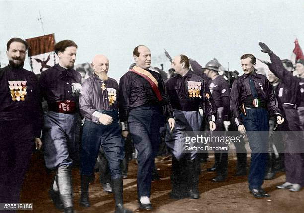 Dictator Benito Mussolini and Fascist Party leaders during the March on Rome which began his dictatorship in Italy. Participating in the march from...