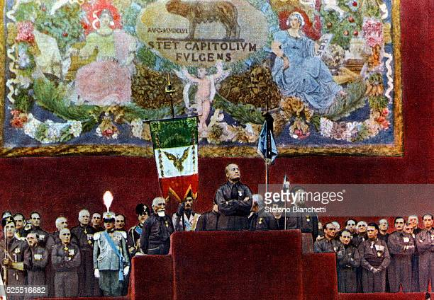 Dictator Benito Mussolini speaking at the Piazza Venezia in Rome during celebrations for the tenth anniversary of the Fascist revolution.