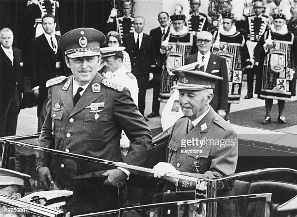 Dictators Alfredo Stroessner of Paraguay and General Francisco Franco of Spain driving through the streets of Madrid to a ceremony in which...