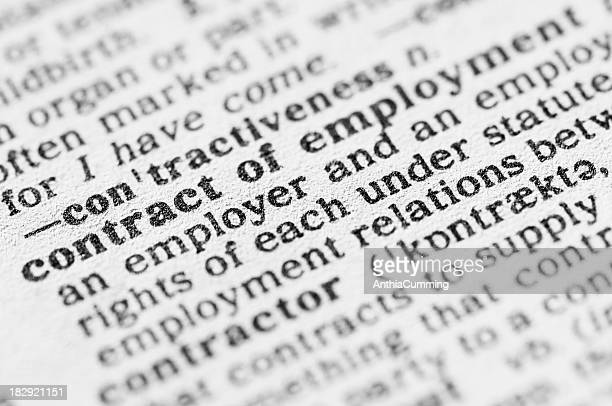 dictionary definition of contract of employment - employment law stock photos and pictures